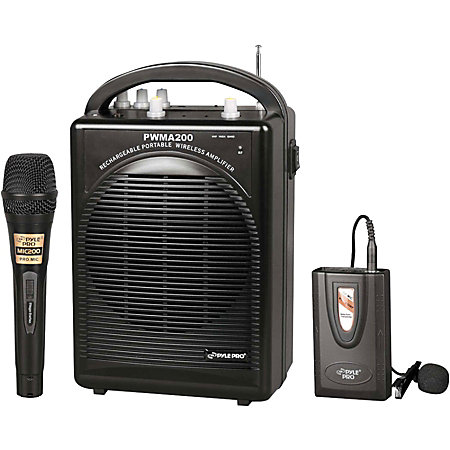 pylepro pwma200 rechargeable portable pa system with wireless lavalierheadset microphone and 1. Black Bedroom Furniture Sets. Home Design Ideas