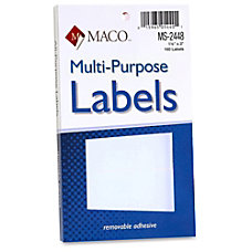 MACO White Multi Purpose Labels Removable