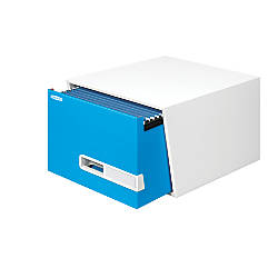 "Bankers Box® Stor/Drawer® Premier Storage Drawers, Legal Size, 10""H x 15""W x 18""D, White/Blue, Pack Of 5"