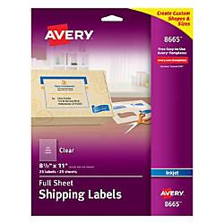 Avery Clear Inkjet Labels Full Sheet