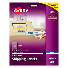 Avery Clear Inkjet Labels Full Sheet