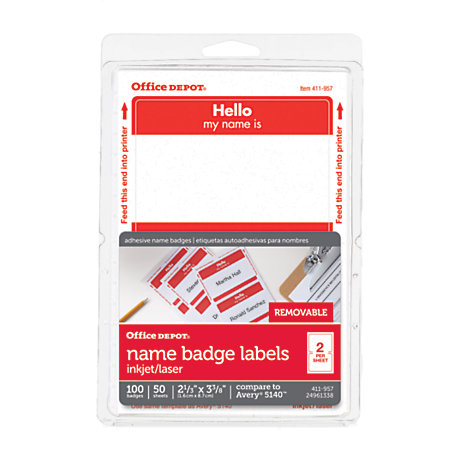 Office Depot Brand Hello Name Badge Labels 2 1132 X 3 38