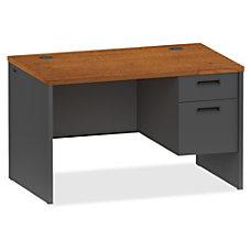 Lorell CherryCharcoal Pedestal Desk 48 x