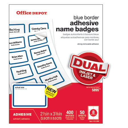 Office Depot Brand Name Badge Labels 2 13 X 3 38 Blue