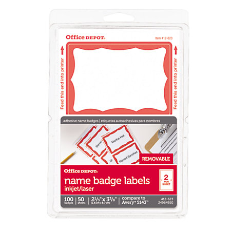 Office depot brand name badge labels 2 1132 x 3 38 red for Office depot shirt printing