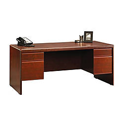 "Sauder® Cornerstone Collection Executive Desk, 29 1/4""H x 70 5/16""W x 29 1/2""D, Classic Cherry"