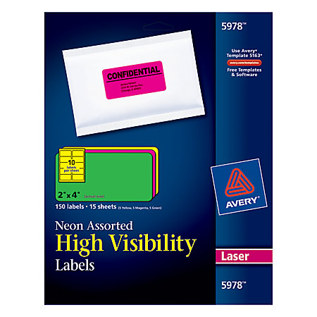 Avery permanent laser id labels 2 x 4 assorted neon 15 for Avery 2 x 3 label template