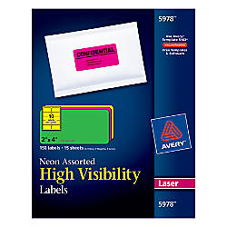 "Avery® Color Laser Address Labels, 2"" x 4"", Assorted Neon, 15 Sheets, Pack Of 150"