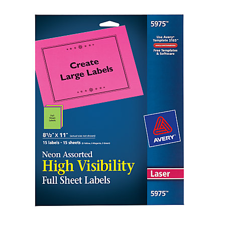 avery color laser permanent full sheet labels 8 12 x - Avery Colored Labels