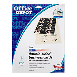 Office depot brand double sided business cards 2 x 3 12 for Office depot design business cards