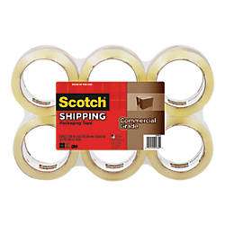 "Scotch® 3750 Commercial Performance Packaging Tape, 1 7/8"" x 54.6 Yd., Clear, Pack Of 6"