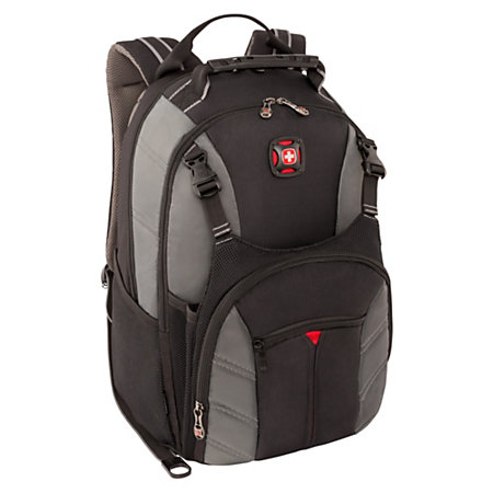 swissgear sherpa backpack for 16 laptop gray by office depot officemax