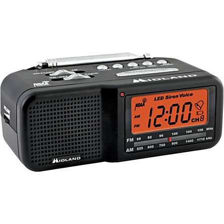 midland weather alert alarm clock radio by office depot officemax. Black Bedroom Furniture Sets. Home Design Ideas