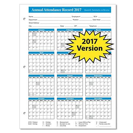 ComplyRight 2017 Attendance Calendars 8 12 x 11 Pack Of 50 by – Attendance Calendar Template