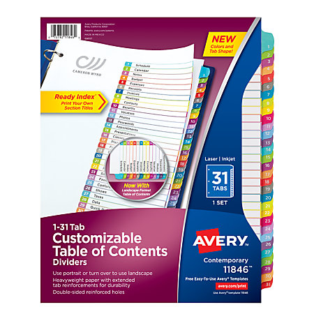 office depot divider templates - avery ready index table of contents dividers 8 12 x 11