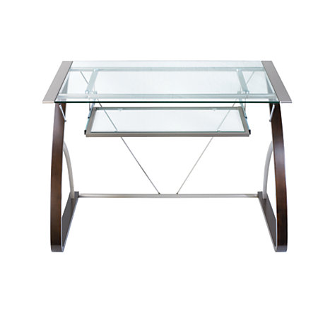 merido computer desk espressosilver by office depot officemax