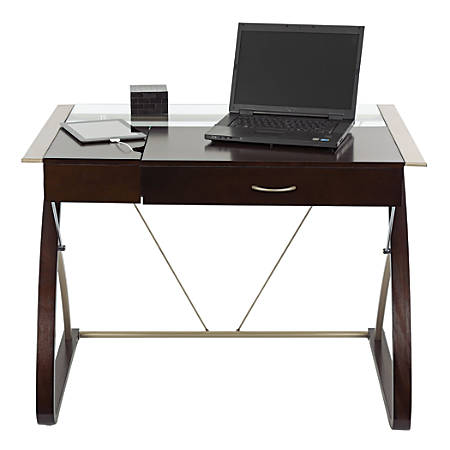 Realspace merido writing desk with storage espressosilver by office depot officemax - Office max office desk ...