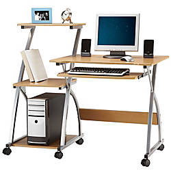 Limble Mobile Computer Desk With Shelving 40 38 H X 47 14
