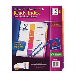 Avery Ready Index Narrow 5 Tab