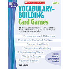 Scholastic Vocabulary Building Card Games Grade