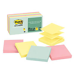 "Post-it® 3"" x 3"" Pop-up Notes, Pastel Collection, 100 Sheets Per Pad, Pack Of 12 Pads"