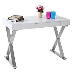Lumisource Luster Computer Desk SilverWhite