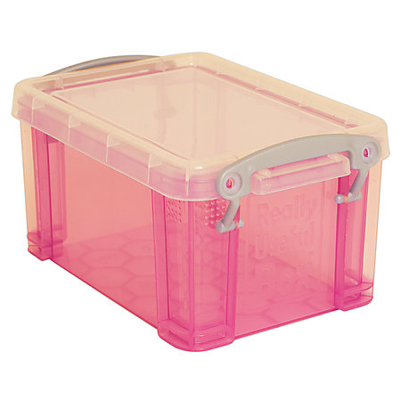 really useful box plastic storage box 1 6 liters 7 12 x 5 14 x 4 14 pink by office depot officemax. Black Bedroom Furniture Sets. Home Design Ideas