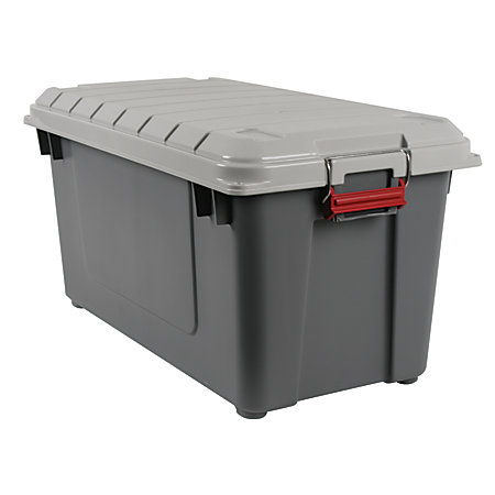 office depot brand plastic storage trunk 87 qt grayred by office depot officemax. Black Bedroom Furniture Sets. Home Design Ideas