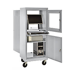 Sandusky Mobile Computer Cabinet Light Gray