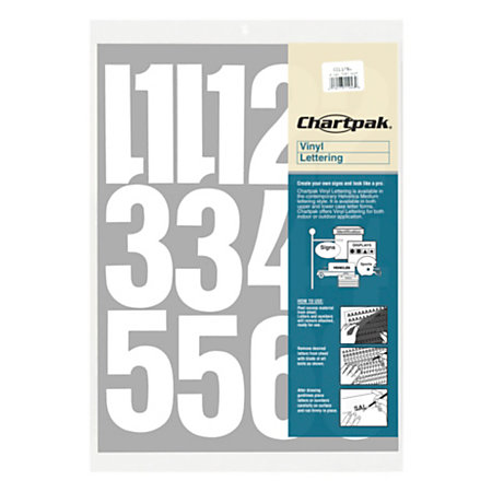 Chartpak pickett vinyl numbers 4 white by office depot for 1 4 inch white vinyl letters