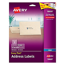 Avery Easy Peel Clear Inkjet Return