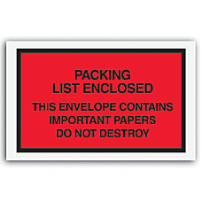 Packing List Envelopes 7 x 6