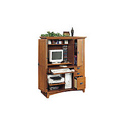 sauder mission computer armoire with side storage