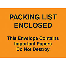 Packing List Envelopes 4 12 x