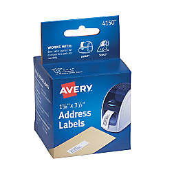"Avery® Thermal Permanent Address Labels™ For Label Printers, 1 1/8"" x 3 1/2"", White, Box Of 260"