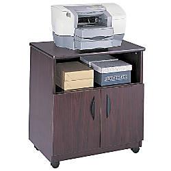 Safco Wood Mobile Machine Stand Mahogany