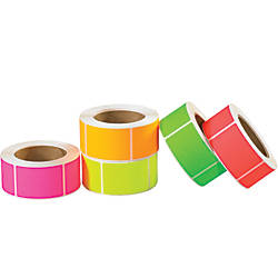 Tape Logic Fluorescent Rectangle Inventory Labels