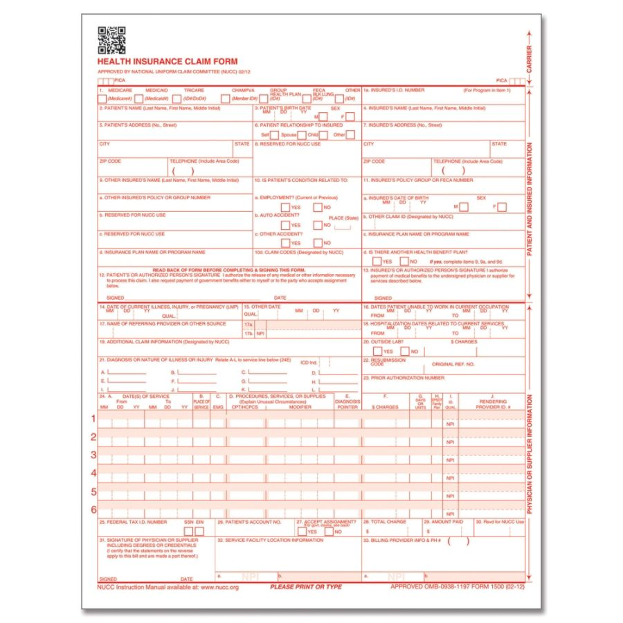 Complyright Cms 1500 Health Insurance Claim Form 0212 Laser Cut