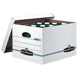 """Bankers Box® Hang'N'Stor™ 60% Recycled Storage Box, Lift-Off Lid Closure, 10""""H x 12 5/8""""W x 15 5/8""""D, Letter, White/Blue"""
