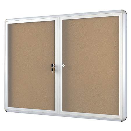 mastervision anodized aluminum frame enclosed cork bulletin board 2 doors 36 x 60 by office. Black Bedroom Furniture Sets. Home Design Ideas