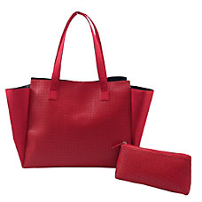 Perforated Microfiber Tote Set Red