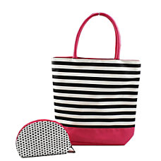 PAI Black And White StripeDot Tote