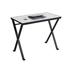 Perfect  Shaped Glass Computer Desk BlackChrome By Office Depot Amp OfficeMax