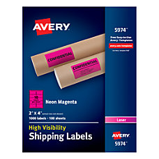 Avery Neon Shipping Labels 2 x