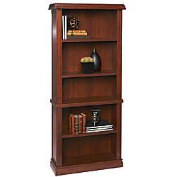 Realspace Piccadily 5 Shelf Bookcase Mahogany