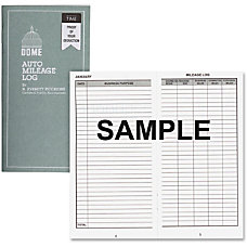 Dome Auto Mileage Log Card Stock
