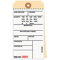 Manila Inventory Tags 2 Part Carbonless