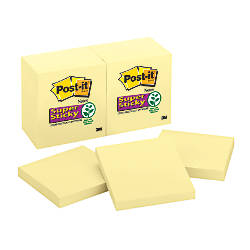 "Post-it® 3"" x 3"" Super Sticky Notes, Canary Yellow, 90 Sheets Per Pad, Pack of 12 Pads"