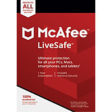 McAfee LiveSafe For PCMac Traditional Disc