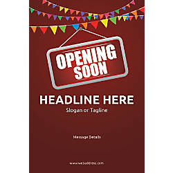 Custom Vertical Poster Opening Soon Bunting